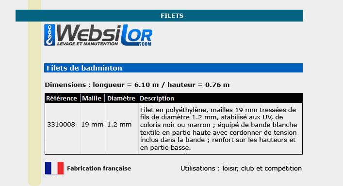 Informations techniques Filet de badminton - mailles tressées 19x19mm