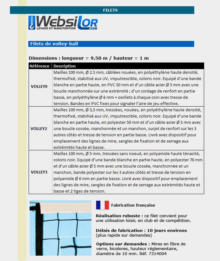 Informations techniques Filet de volley-ball - mailles câblées nouées - 2.5mm