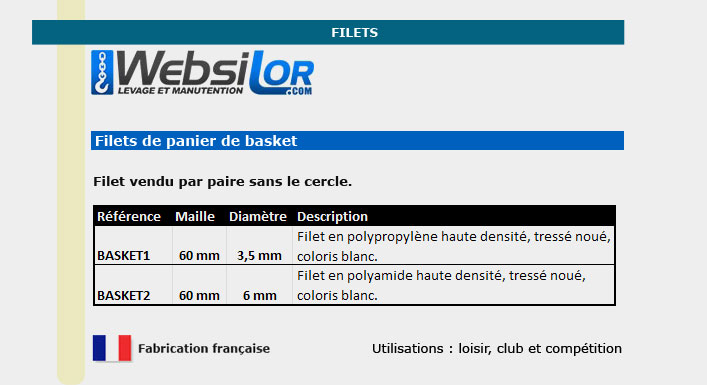 Informations techniques Filet de basketball - maille 60x60 - 3,5mm