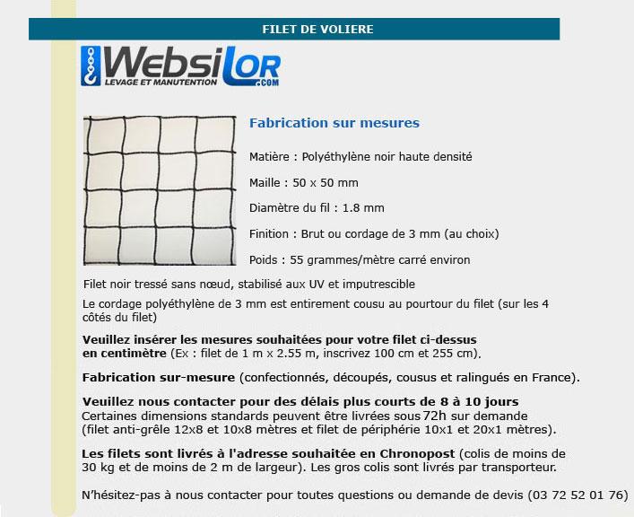 Informations techniques Filet de volière - mailles 50 x 50 mm