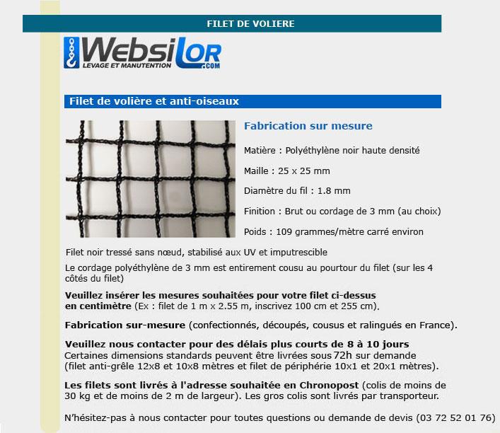 Informations techniques Filet de volière - mailles 25 x 25 mm