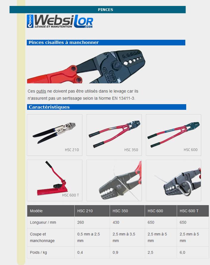 Informations techniques Cisaille manchonneuse - 0,5 à 2,5 mm