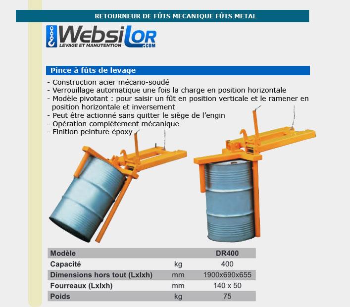 Informations techniques Retourneur de fût mécanique - Capacité 400kg