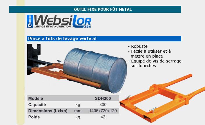 Informations techniques Positionneur de fût en métal - Capacité 300kg