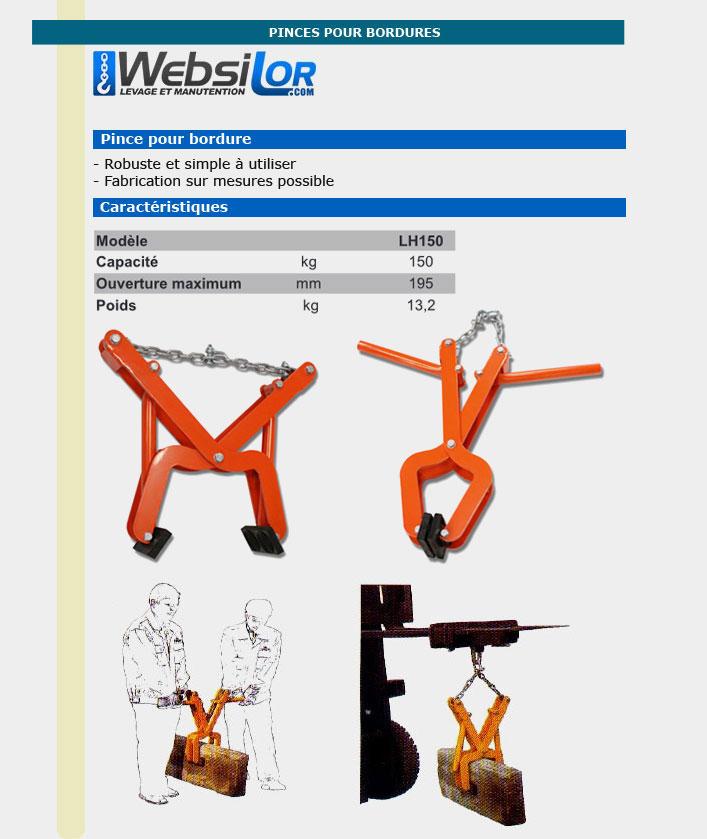 Informations technique de Pince à bordures - 150kg - prise 195mm