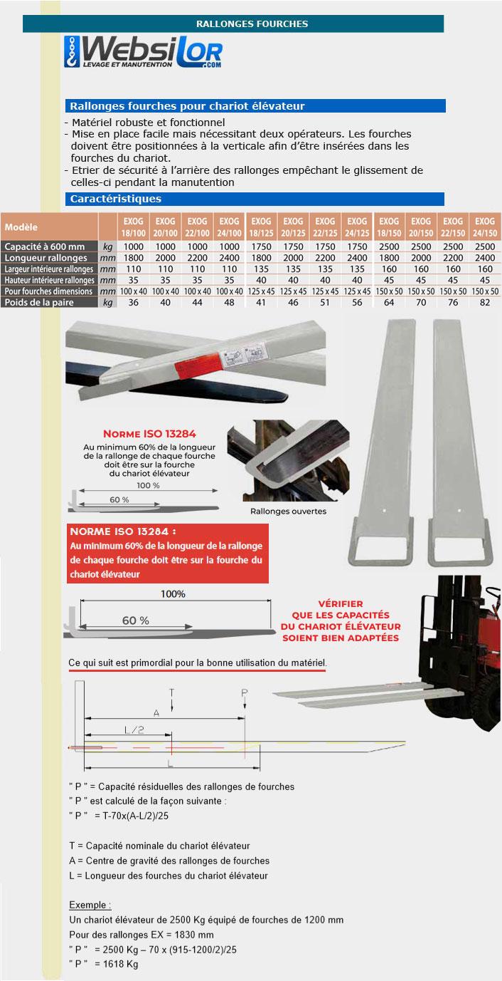 Informations techniques Rallonges fourches avec étrier de sécurité - 1 tonne