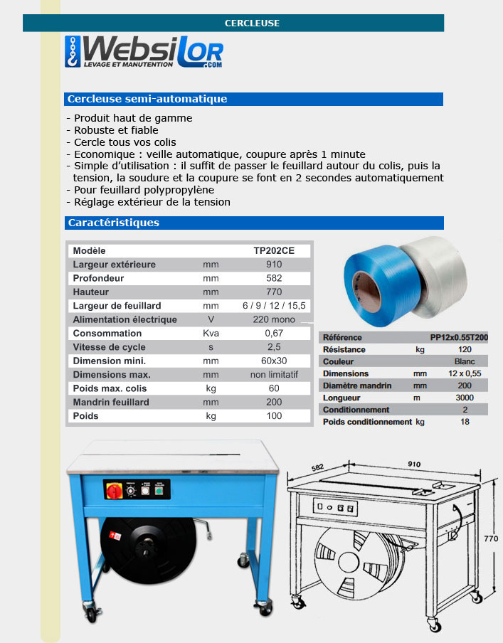 Informations techniques Cercleuse semi automatique
