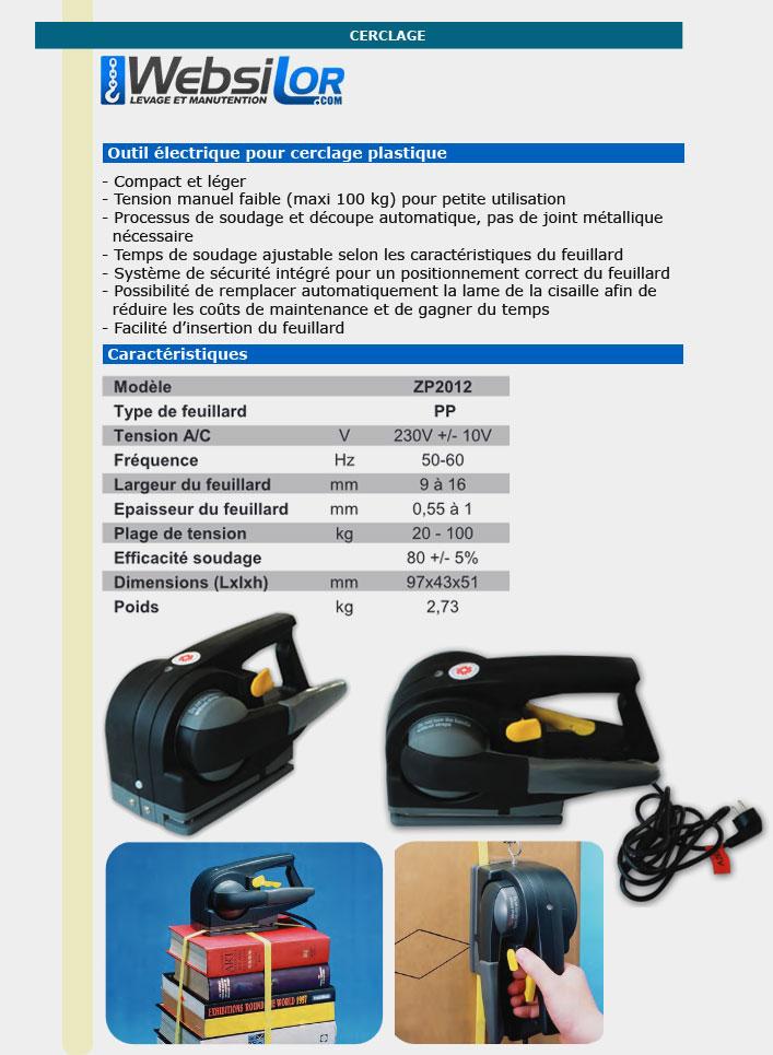 Informations techniques Tendeur électrique à feuillard plastique