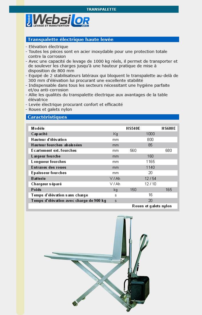 Informations techniques Transpalette à haute levée électrique inox - 1 tonne