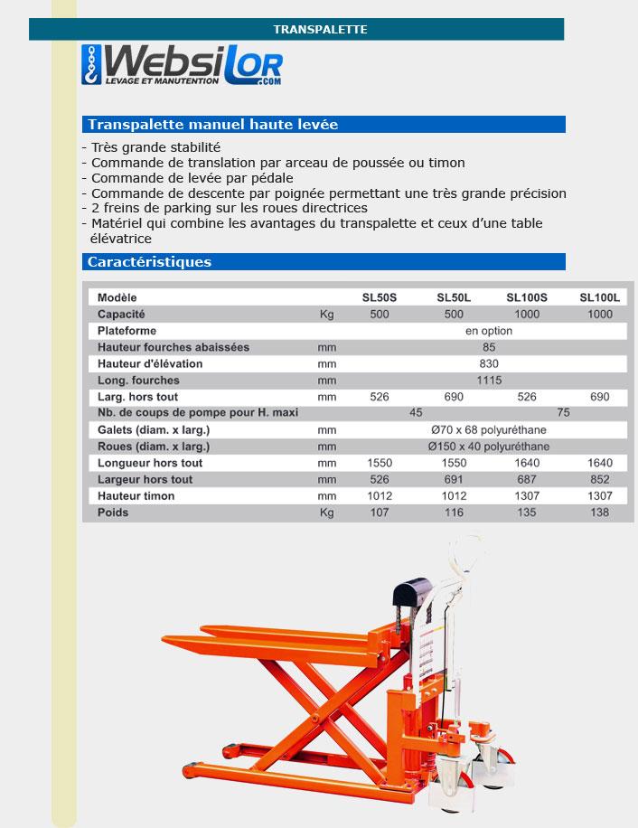Informations techniques Transpalette haute levée manuel très stable - 0.5 à 1 tonne