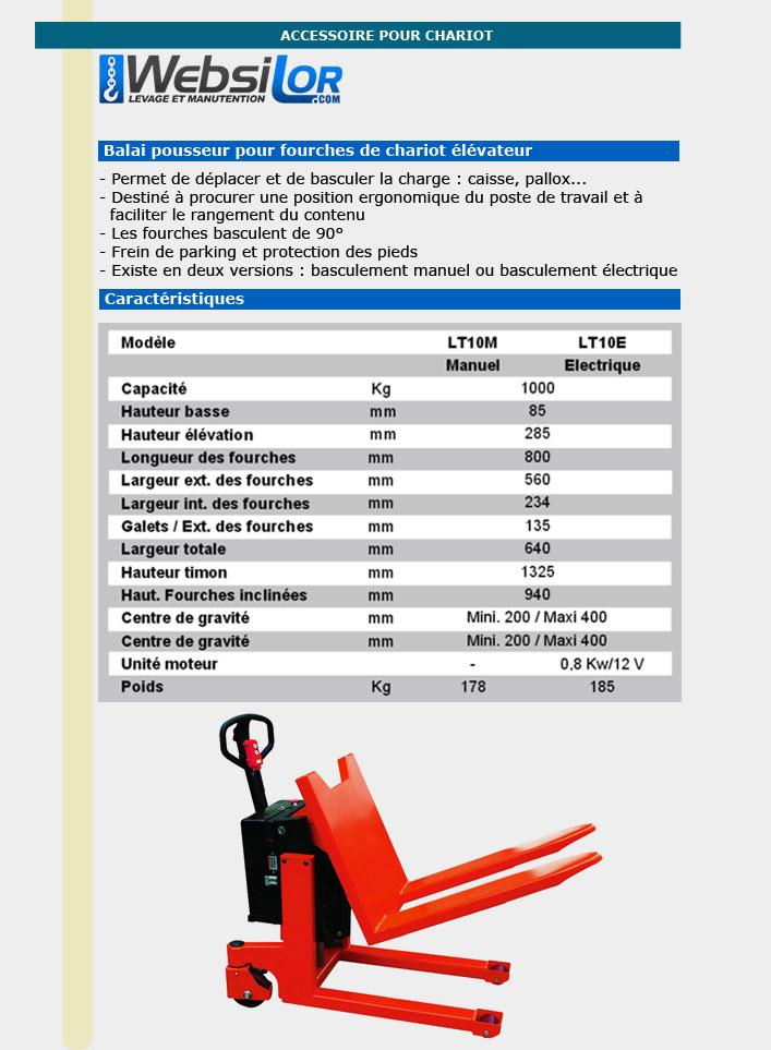 Informations techniques Transpalette basculeur électrique - 1000kg