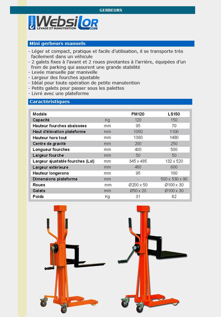 Informations techniques Mini gerbeur manuel à plateforme - 150kg