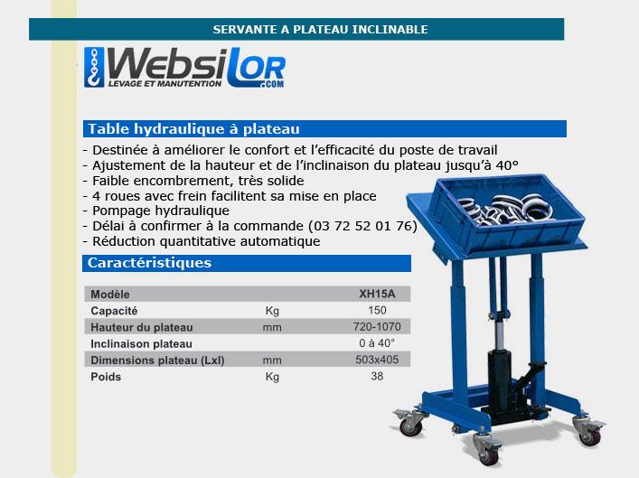 Informations techniques Servante atelier - 150kg