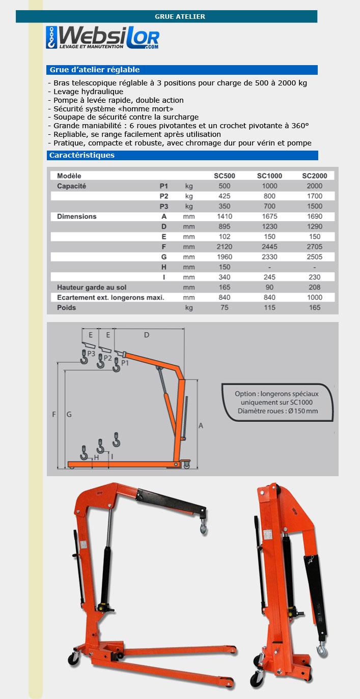 Informations techniques Grue d'atelier mobile pliable - réglable 3 positions