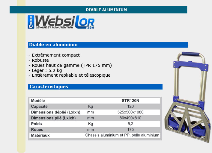 Informations techniques Diable en aluminium - 120kg