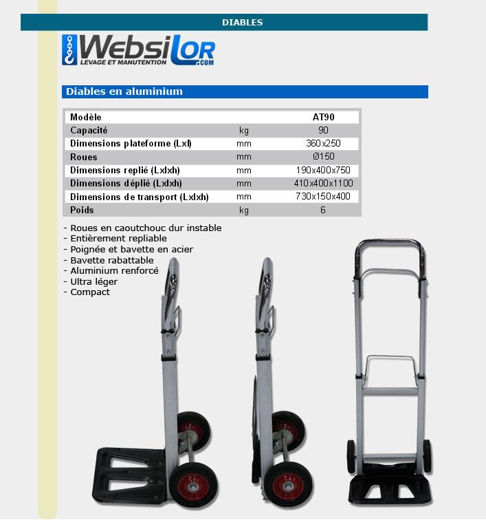 Informations techniques Diable en aluminium - 90 kg