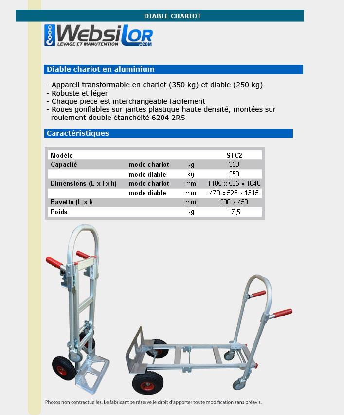 Informations techniques Diable chariot en alu - 250 à 350kg
