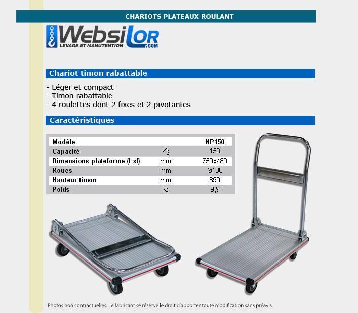 Informations techniques Chariots alu - 150kg