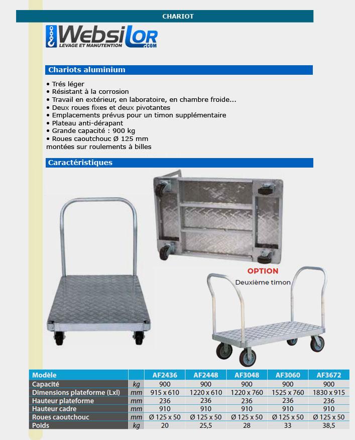 Informations techniques Chariots en aluminium - 900kg
