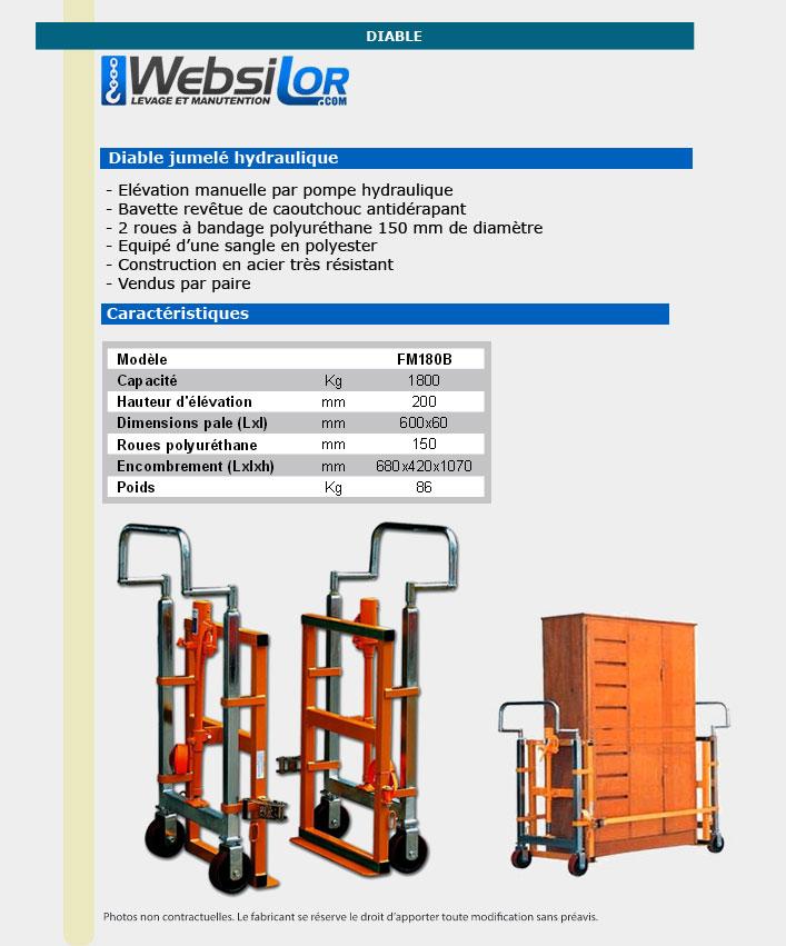 Informations technique de Chariot elevation hydraulique - 1800kg