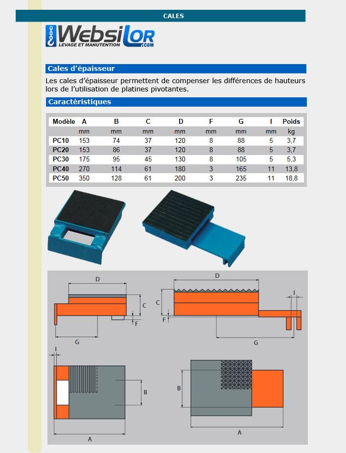Informations techniques Cales d'épaisseur - 153mm