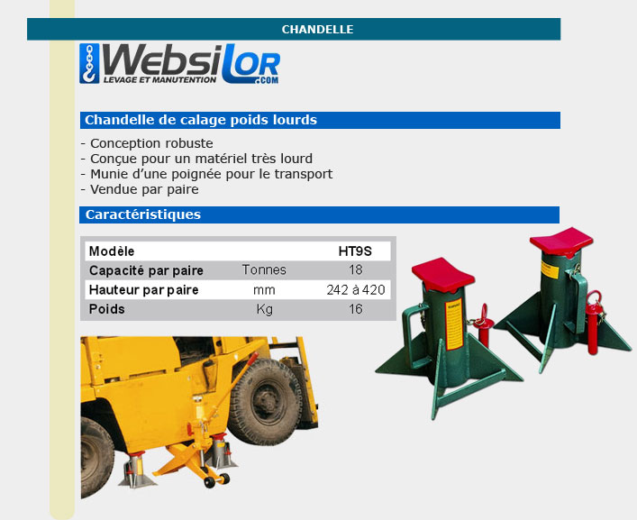 Informations techniques Chandelle matériel lourd - 18 000kg - 420mm