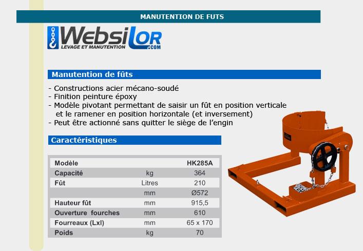 Informations techniques Pince à fût - capacité 364kg - fût 210 litres