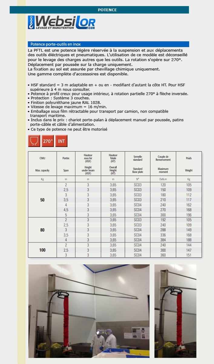 Informations techniques Potencette sur fût porte-outils inox - 50 à 100kg