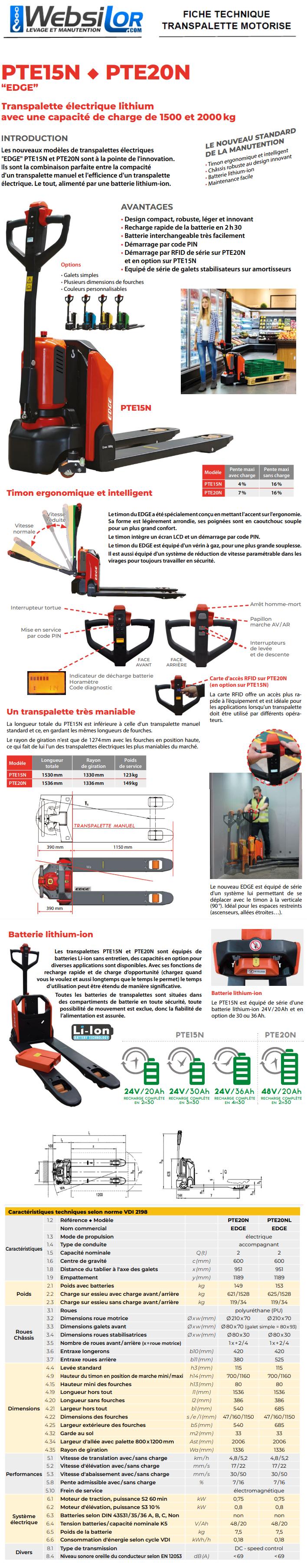 Informations techniques Transpalette électrique standard et léger - 2000kg