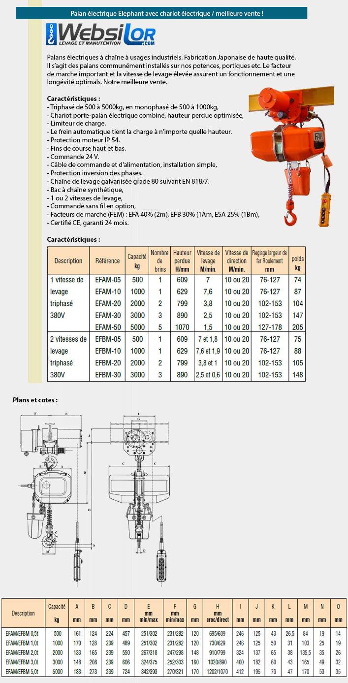 Informations techniques Palan électrique à usage industriel tri avec chariot électrique - 1 ou 2 vitesses - 500 à 5000kg