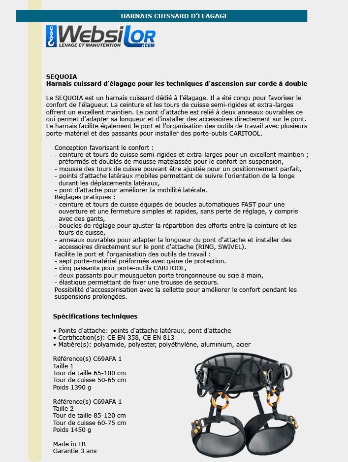 Informations techniques Harnais cuissard d'élagage SEQUOIA - Taille 1