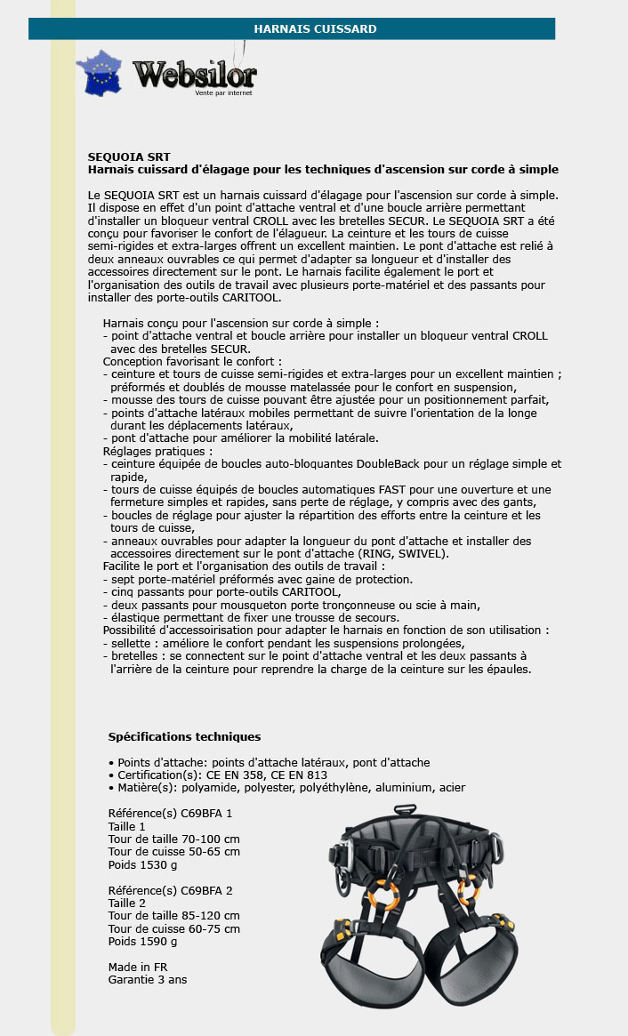 Informations techniques Harnais cuissard d'élagage - Taille 1