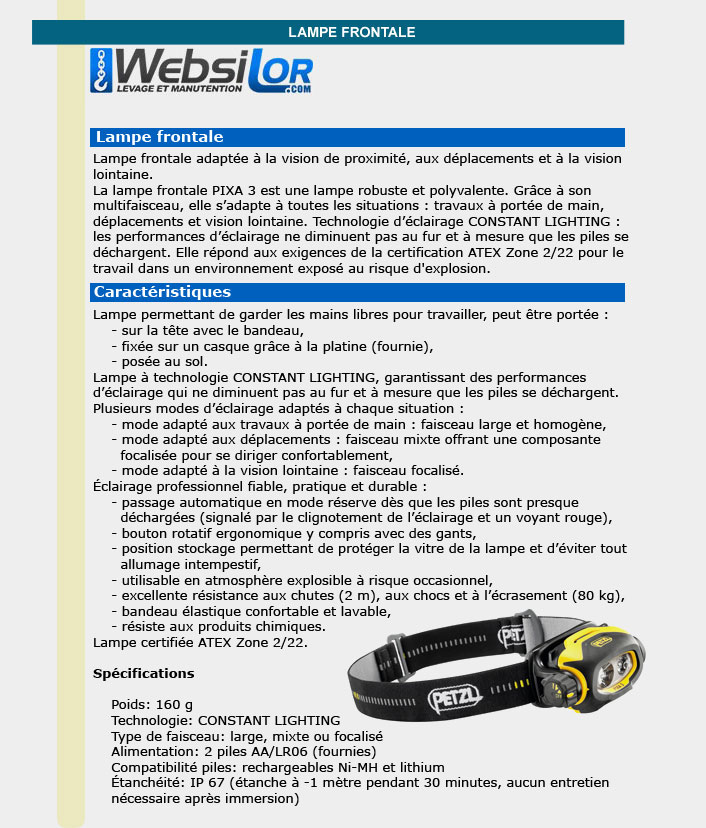 Informations techniques Lampes frontales compactes 100 lumens