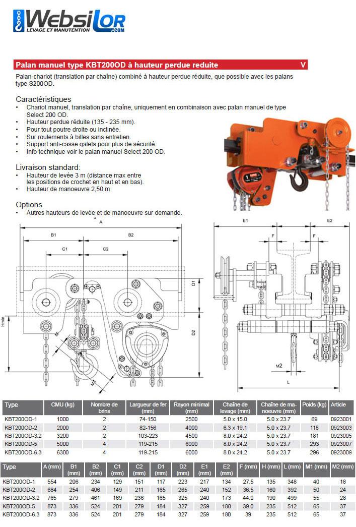 Informations techniques Palan et chariot à translation par chaîne