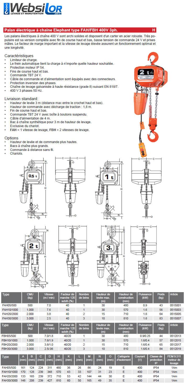 Informations techniques Palan électrique Elephant - 2 vitesses