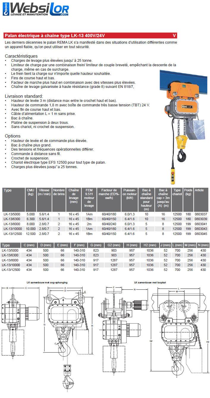 Informations techniques Palan électrique à grande capacité