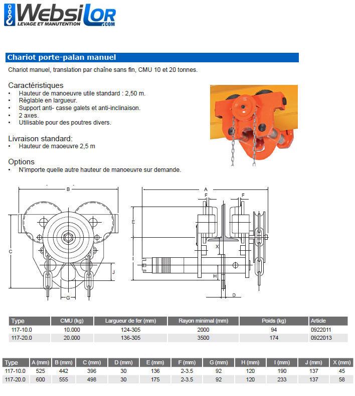 Informations techniques Chariot manuel à chaîne charge lourde