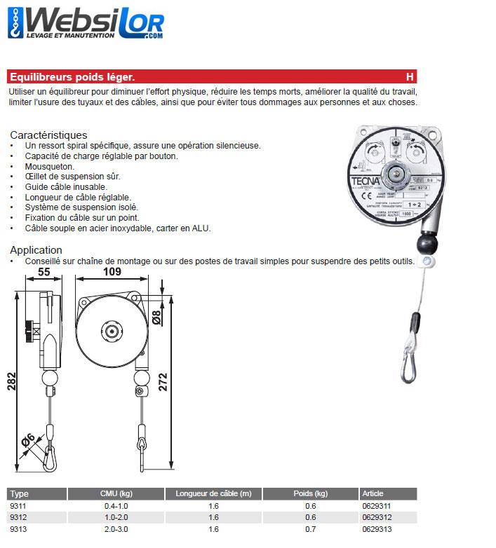 Informations techniques Equilibreur poids léger - de 0.4 à 3kg