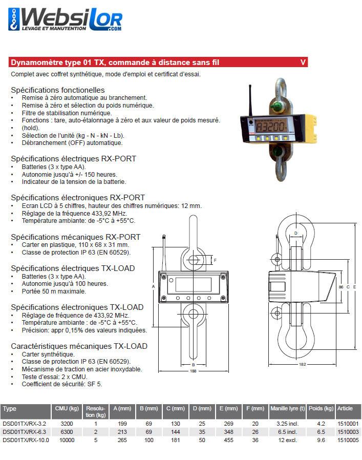 Informations techniques Dynamomètre - 6,3 tonnes