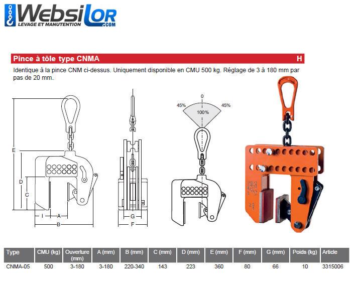 Informations techniques Pince à tôle sans marquage - 0.5 tonne