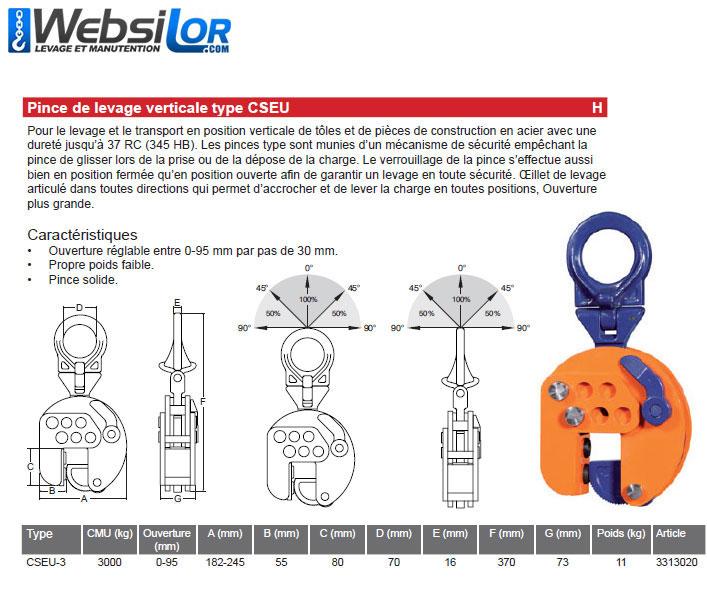 Informations techniques Pince de levage verticale - 3 tonnes