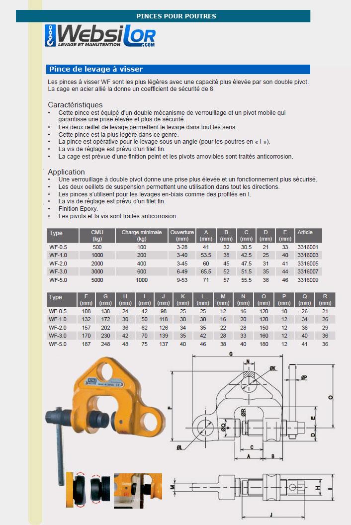 Informations techniques Pince à poutre à visser - 0,5 à 5 tonnes