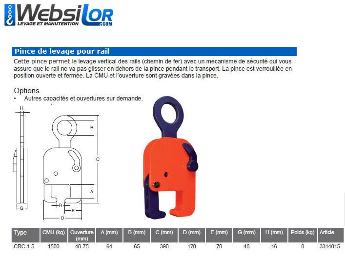 Informations techniques Pince pour rails - 1500kg