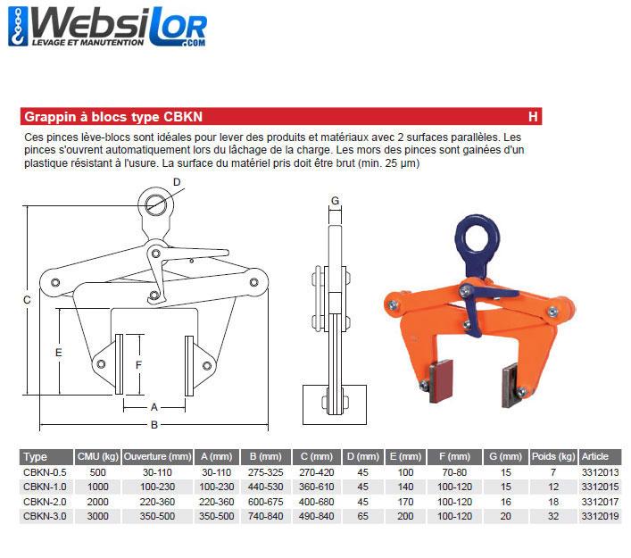 Informations techniques Pince pour blocs - 500kg