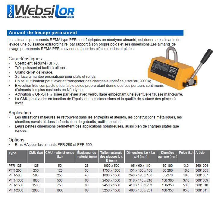 Informations techniques Aimant de levage - 125 à 2000kg