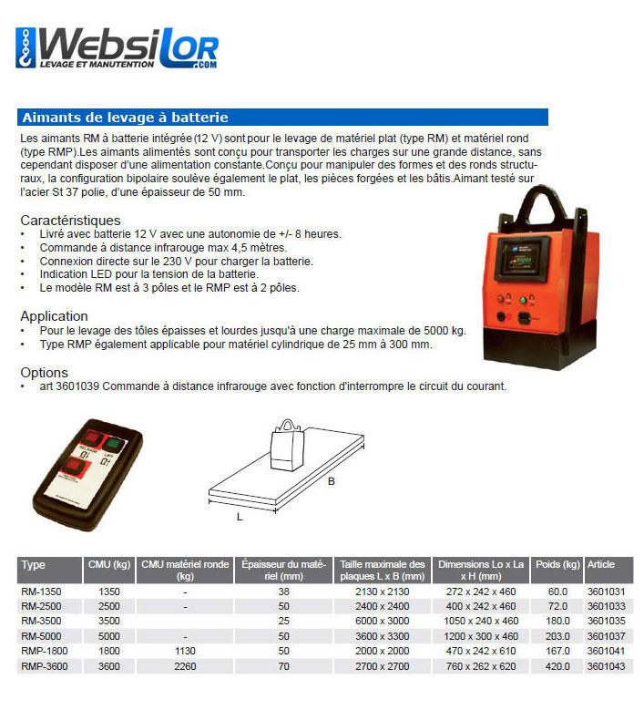 Informations techniques Aimant de levage à batterie - 1350 à 5000kg