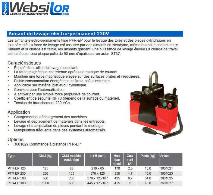 Informations techniques Aimant de levage electro permanent - 125 à 1000kg