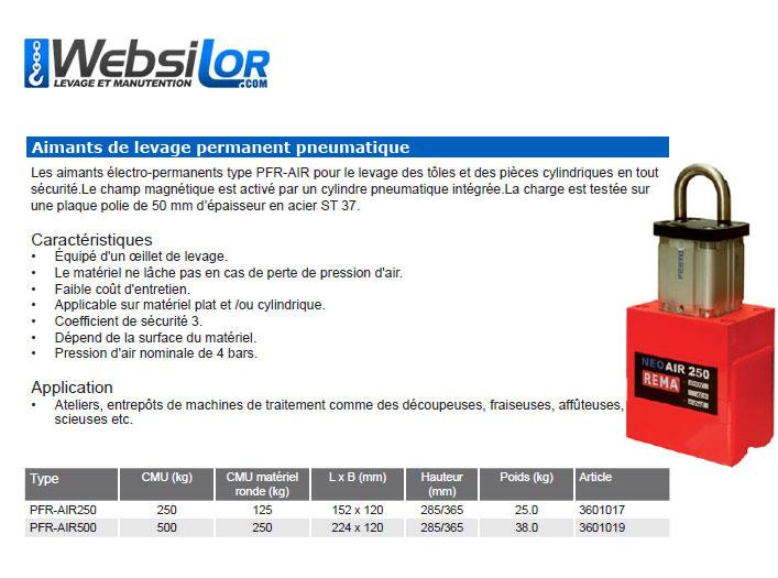 Informations techniques Aimant de levage electro pneumatique - 250 à 500kg