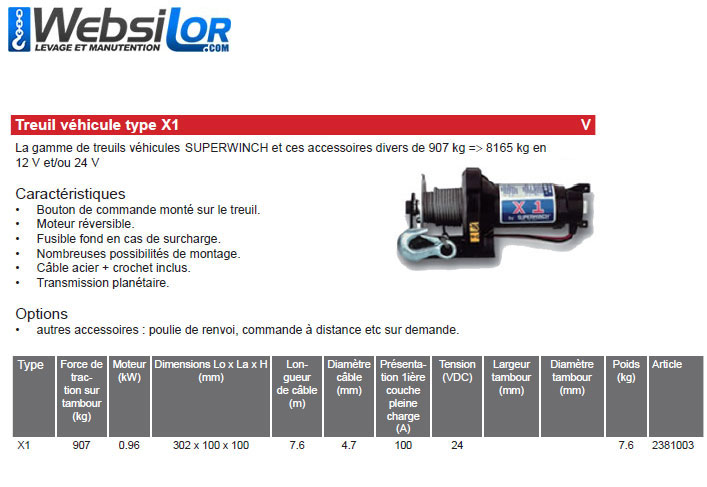 Informations techniques Treuil pour vehicule - 907kg - 24V