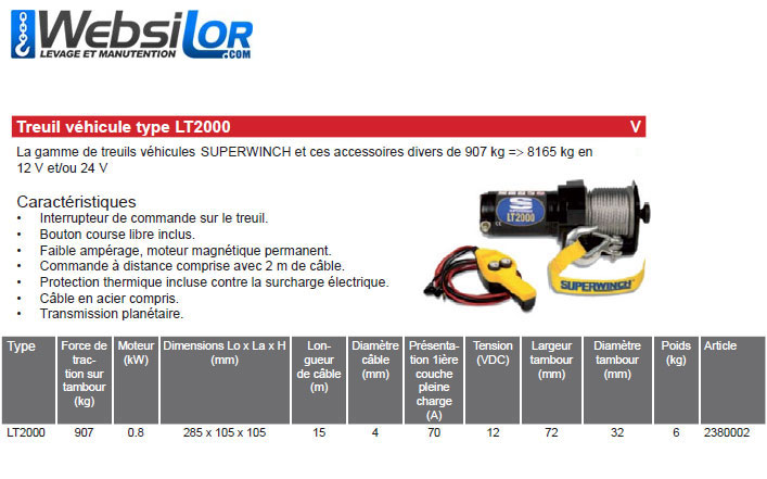 Informations techniques Treuil pour vehicule - 907kg - 12V